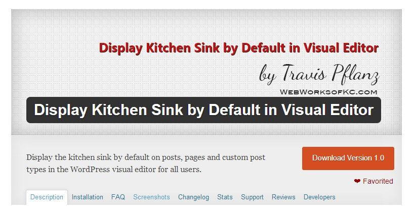 Display Kitchen Sink by Default in Visual Editor WordPress Plugin