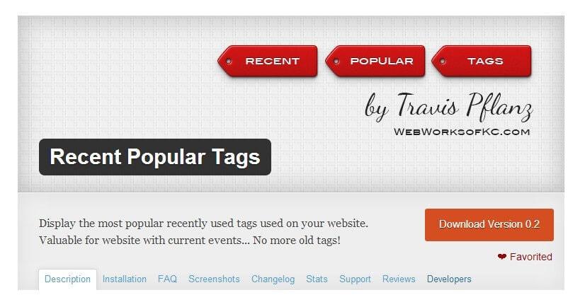 Recent Popular Tags WordPress Plugin